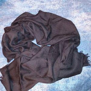 Gucci GG Black Wool Silk Scarf